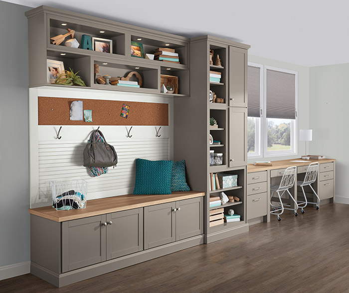 Brellin Stone Gray laminate cabinets in a multi-functional room