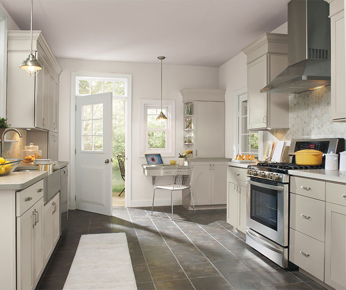 Brellin light gray kitchen cabinets