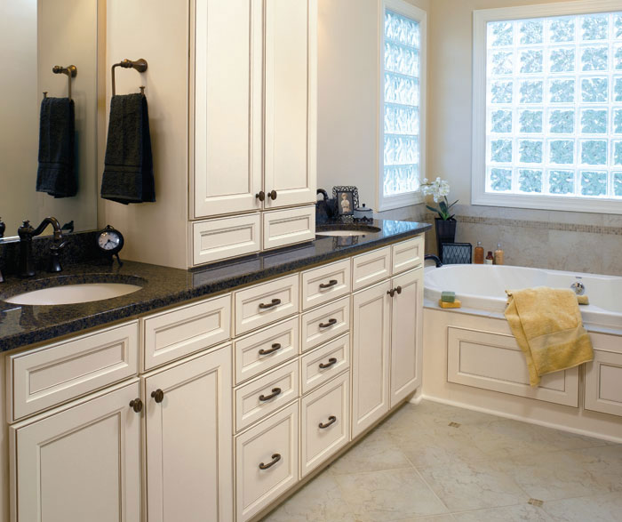 Laminate bathroom cabinets by Aristokraft Cabinetry
