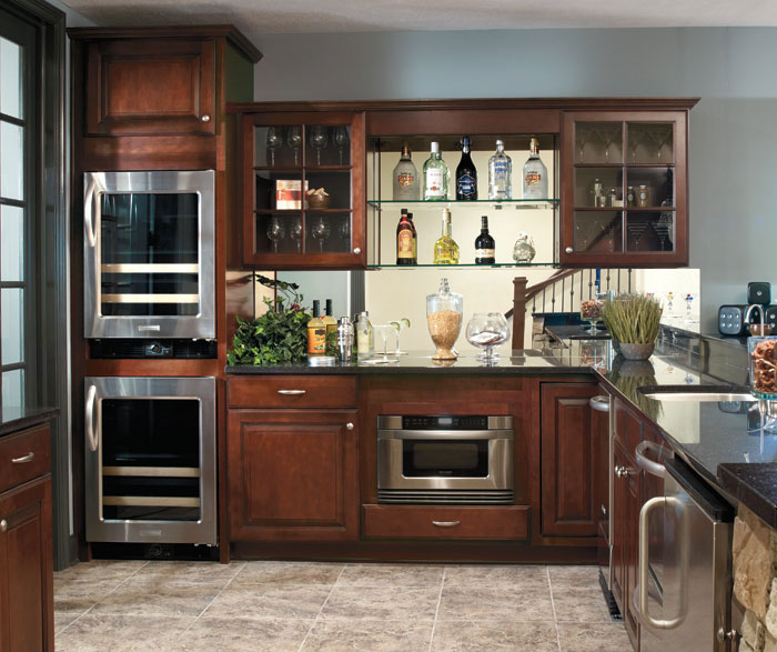 Wall Cabinet with Mullion Doors - Aristokraft Cabinetry on Dark Maple Cabinets  id=88454