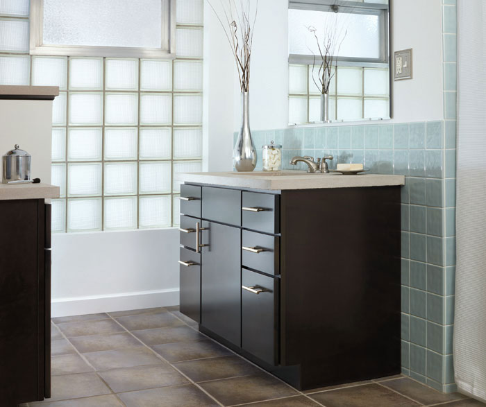 Dark wood vanity cabinet in contemporary bathroom