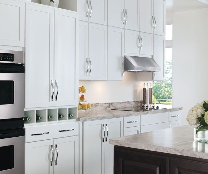Painted white kitchen cabinets by Aristokraft Cabinetry