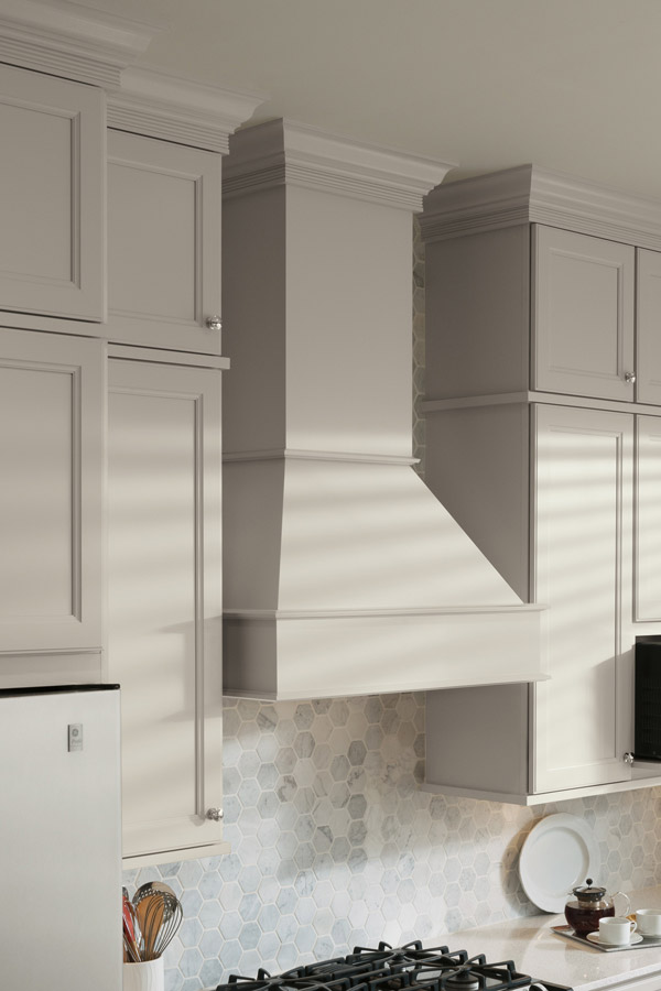 Square wood hood with tall chimney