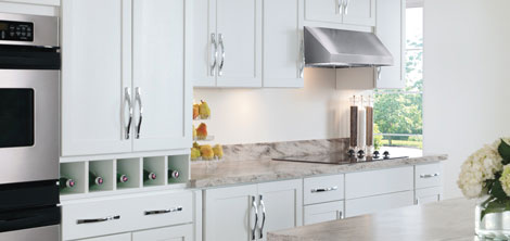 Maple Winstead cabinets shown in a white kitchen