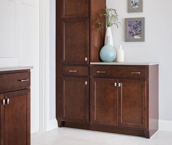Dark Maple bathroom cabinets