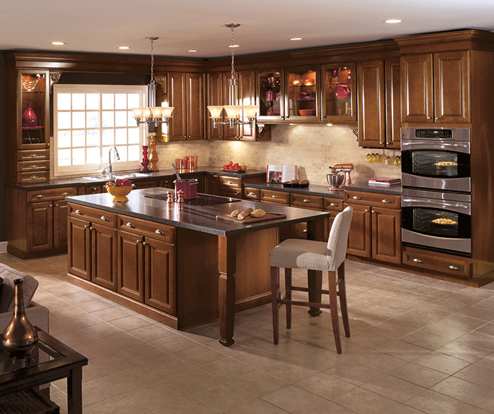 Cherry wood kitchen cabinets in a dark Saddle finish
