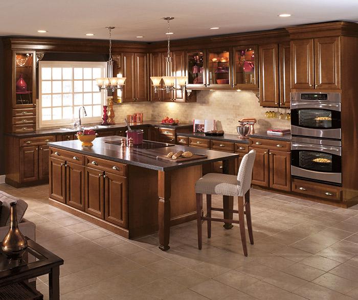 Cherry wood kitchen cabinets in a dark Saddle finish