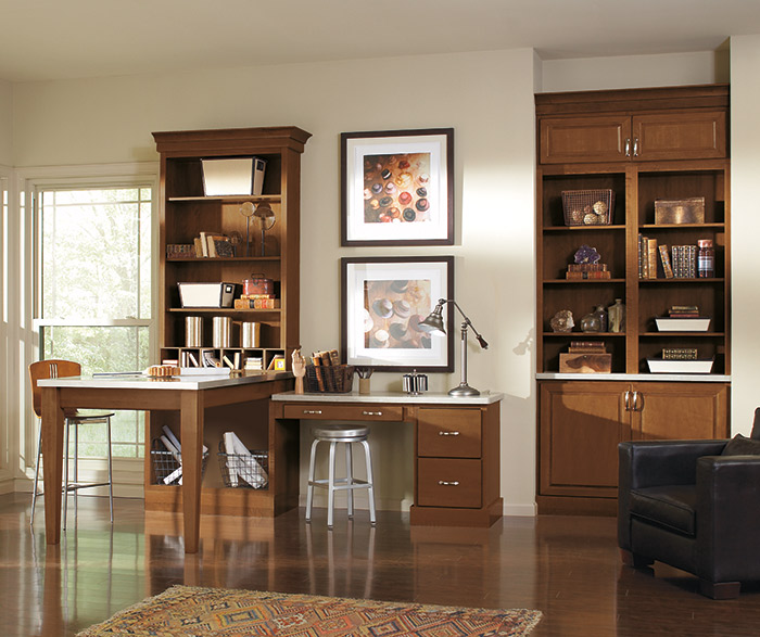 Contemporary home office cabinets in Saybrooke Birch Saddle