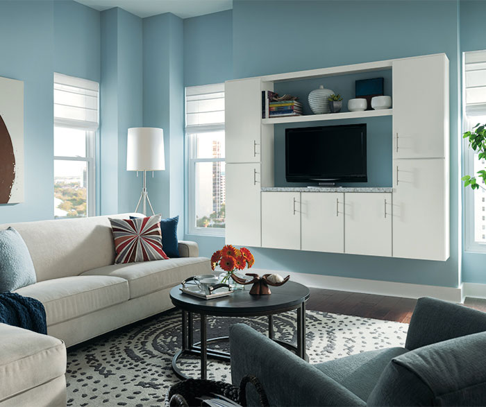Living room cabinet in painted white Maple by Aristokraft Cabinetry